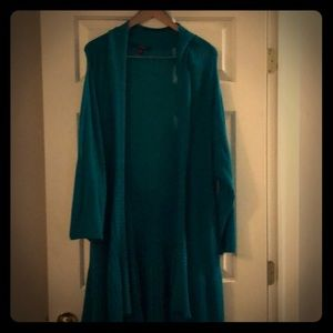 Extra long 2x Duster Teal Cardigan Sweater